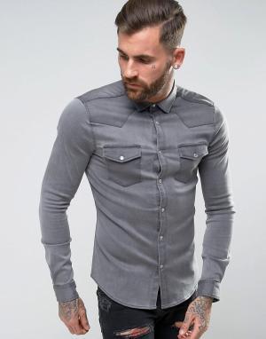 ASOS Серая джинсовая рубашка скинни в стиле вестерн. Цвет: серый