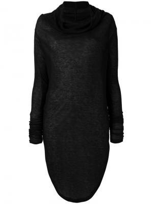 Платье-свитер с воротником-шалька Barbara I Gongini. Цвет: чёрный