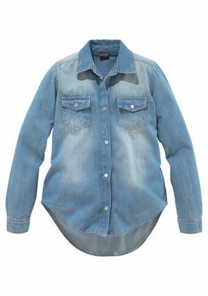 Джинсовая блузка Arizona. Цвет: синий деним