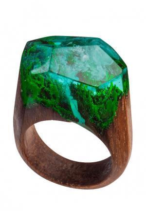 Кольцо Green Wood. Цвет: зеленый