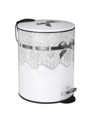 Мусорная корзина металлическая с педалью 19,5х26,5см - 5л Кружево. Mathilde M. Цвет: белый, черный