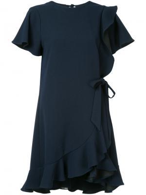 Расклешенное платье Hamptons с оборками Rebecca Vallance. Цвет: синий