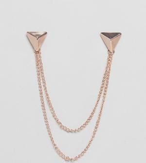 DesignB London Золотистые треугольные уголки для воротника с цепочкой эксклюз. Цвет: серебряный