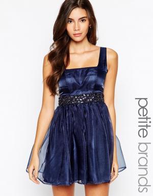 Lipstick Boutique Petite Платье для выпускного с вырезом сердечком и декоративной отделкой Lips. Цвет: темно-синий