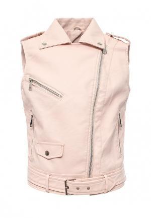 Жилет кожаный B.Style. Цвет: розовый