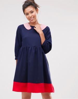 The WhitePepper Свободное платье с воротником в виде рук. Цвет: темно-синий