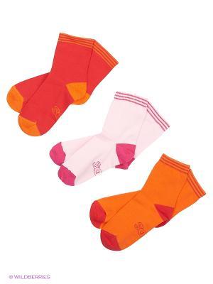 Носки, 3 пары Гамма. Цвет: красный, оранжевый