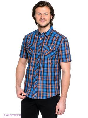 Рубашка Finn Flare. Цвет: синий, коричневый