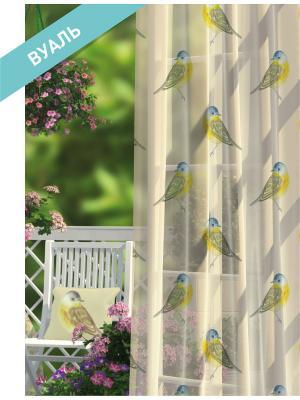 Комплект штор (2 шт.) Волшебная ночь, 150см*270см, ткань-Вуаль,  стиль-ПРОВАНС, TOMTIT ночь. Цвет: белый, голубой, желтый