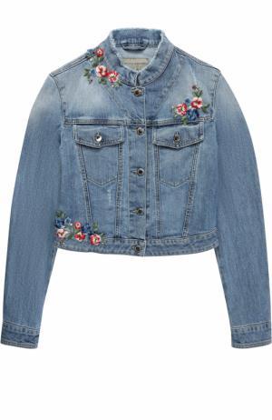 Укороченная куртка из денима с вышивками и бахромой Ermanno Scervino. Цвет: синий