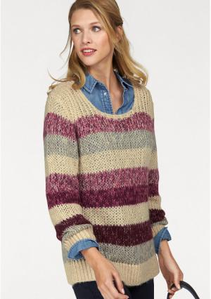 Пуловер CHEER. Цвет: бежевый/ягодный меланжевый