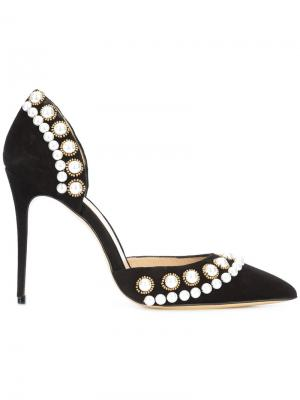 Pearl detail stiletto pumps Monique Lhuillier. Цвет: чёрный