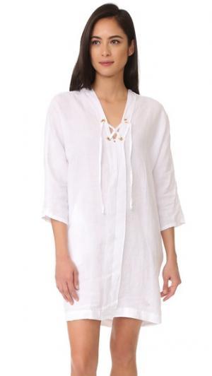 Платье-кокон со шнуровкой Three Dots. Цвет: белый