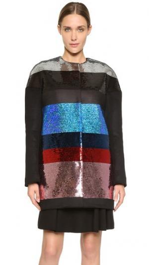 Пальто с блестками Giambattista Valli. Цвет: черный/голубой/красный