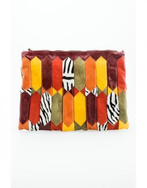 Кожаный клатч Duro Olowu. Цвет: multicolor