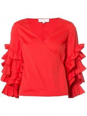 Блузка с оборчатыми рукавами Caroline Constas. Цвет: красный