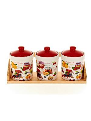 Набор банок для сыпучих продуктов Джем, Polystar. Цвет: красный