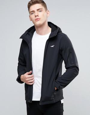 Hollister Антрацитовая куртка с капюшоном и логотипом в виде чайки. Цвет: черный