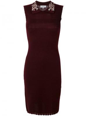 Платье без рукавов с вышивкой на воротнике Carven. Цвет: красный