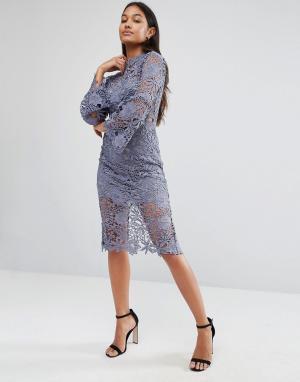 Love Triangle Кружевное платье с высокой горловиной и расклешенными рукавами Tr. Цвет: серый