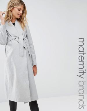 New Look Maternity Пальто для беременных с запахом и поясом. Цвет: серый