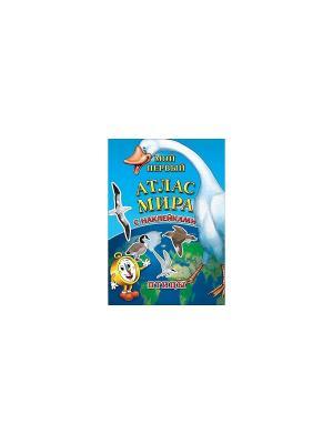 Детский атлас мира с наклейками. Птицы Бумбарам. Цвет: голубой, зеленый, коричневый