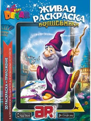 Живая Раскраска Волшебники, А4,мягкая обложка DEVAR. Цвет: серо-голубой