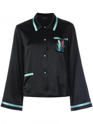 Пижамная рубашка с вышивкой Morgan Lane. Цвет: чёрный