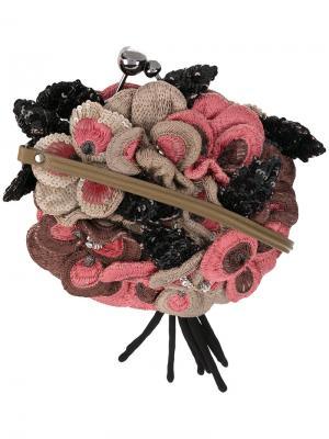 Сумка с цветами пайетками эффектом 3D Jamin Puech. Цвет: коричневый