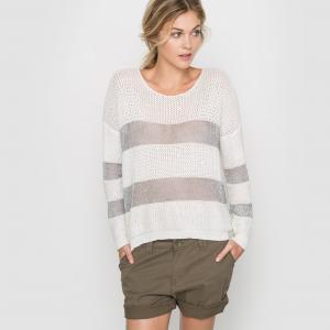 Пуловер из двух материалов с длинными рукавами SUNCOO. Цвет: хаки