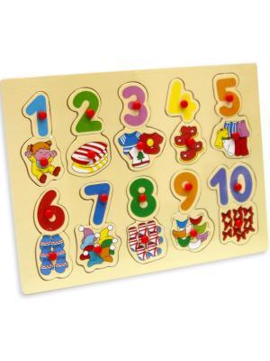 Деревянная игрушка вкладыши Цифры Фабрика Фантазий. Цвет: желтый, синий, зеленый