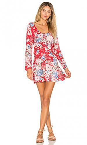 Свободное платье с длинным рукавом alice AUGUSTE. Цвет: красный