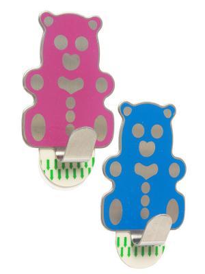 Крючки Медвежата DAVANA. Цвет: синий, розовый
