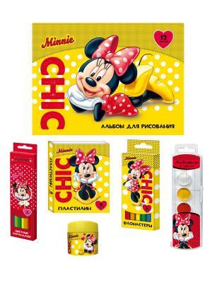 Канцелярский набор Минни Disney. Цвет: красный, желтый, белый, черный