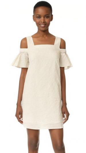 Платье с открытыми плечами Madewell. Цвет: выбеленный лен