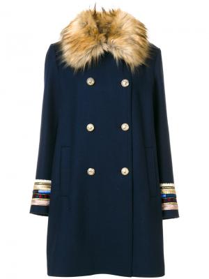 Faux fur collar coat Bazar Deluxe. Цвет: синий