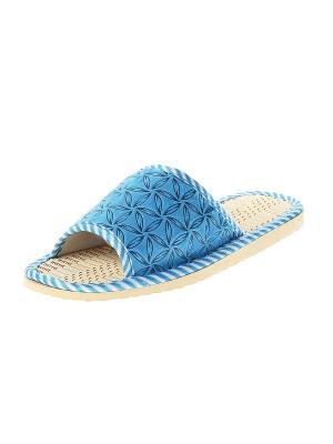 Тапочки домашние детские Migura. Цвет: голубой, бежевый, белый