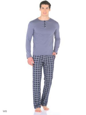 Пижама мужская (лонгслив,брюки) MARSOFINA. Цвет: серый