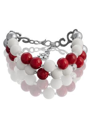 Браслет с кораллом, белым агатом и снежным кварцем L'ATTRICE. Цвет: прозрачный, белый, красный