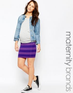 Ripe Мини-юбка в полоску для беременных Maternity Bianca. Цвет: лиловый