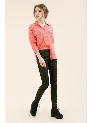 Блузка Monoroom с двумя карманами розовая. Цвет: розовый
