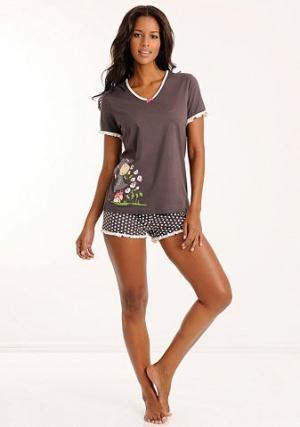 Пижама с шортами NICI. Цвет: темно-серый