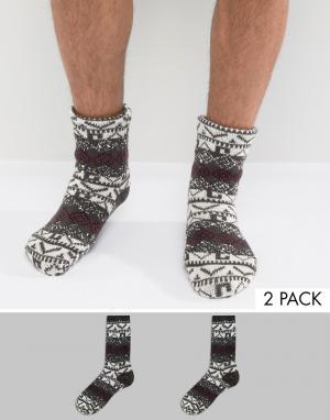 Totes Две пары носков с новогодним рисунком Original. Цвет: серый