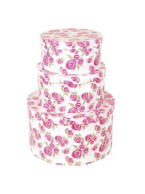 Коробка картонная,  набор из 3 шт. 20х20х10- 30х30х15 см. Розовая графика. VELD-CO. Цвет: бледно-розовый, белый