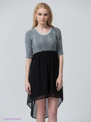 Платье BSB. Цвет: серый, черный