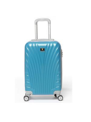 Чемодан Palm Blue на 4 колёсах, с выдвижной ручкой, поликарбонат, р-р S Sun Voyage. Цвет: голубой