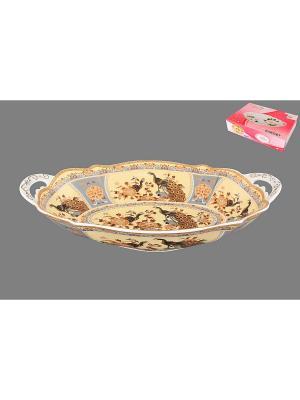 Блюдо Павлин на бежевом Elan Gallery. Цвет: бежевый, коричневый, серый