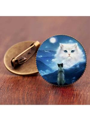 Брошь Небесный кот Honey Jewelry. Цвет: бронзовый