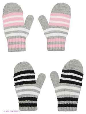 Варежки FOMAS. Цвет: серый, светло-серый, бледно-розовый, черный