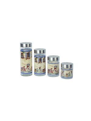 Набор из 4-х банок Рынок (2200мл,1700мл,1250мл,350мл) в п/у Elff Ceramics. Цвет: синий, серебристый